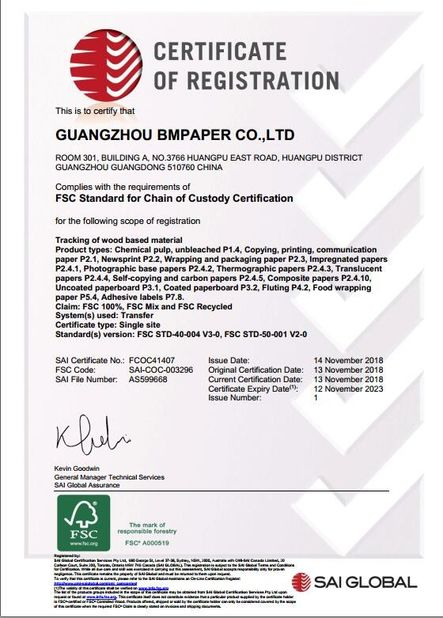 China GUANGZHOU BMPAPER CO., LTD. Zertifizierungen